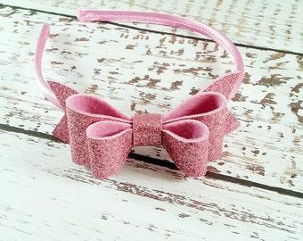 Pink Glitter Bow,Mauve Geranium Pink,Glitter Bow Headband,Oversize Glitter Hair Bow,Girls Toddlers Women,Valentines Day Headband,Hair Clip