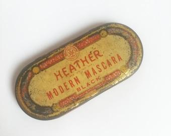 1930 1940 HEATHER MODERN MASCARA tin with brush vintage makeup collectibles