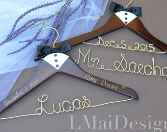Tuxedo Groom and Ring Bearer Hangers- Date included.