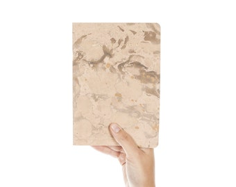 Marmoratus #2 brown marbled gold notebook - pastel rose golden foil letterpress cover GLDR5001
