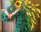 Fall Horse Head Wreath with Plaid Halter and Sunflower