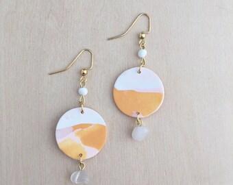 Orange Skies Charm Earrings - Clay Earrings - Bohemian Jewelry