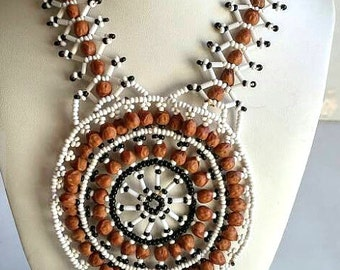 Vintage Native American Bead Medallion Necklace Made With Seed Beads,Junifer Seeds