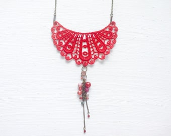 Red Lace Necklace with Beads and Chain