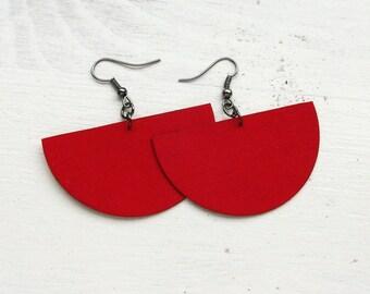 Red Fabric Decoupaged Earrings Textile Jewelry (SWING)