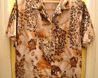 Ghepard shirt, vintage shirt, 80s shirt, Vintage shirt woman, Vintage style, Size L