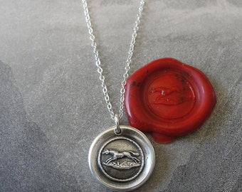 Horse Wax Seal Necklace - equestrian antique wax seal charm jewelry from French seal - galloping horse by RQP Studio