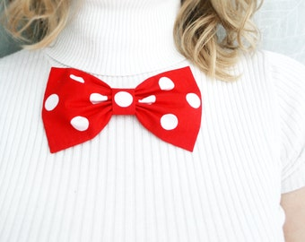Red bow. oversized polka dots bow brooch. Classic bow. Girls bows brooch. red hair clip. Ready to ship. back to school. musfrooms