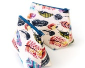 Feather Print Fabric Toiletry Bags Make Up Storage Small Cosmetic Bag Large Wash Bag Bohemian Style Gift for Women