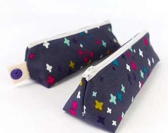 Zipper Pouch Pencil Holder Brush Case Fabric Pencil Case in Dark Grey Modern Print Back to College