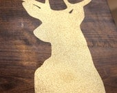 Gold Glitter Reindeer- faux taxadermy - rustic sign