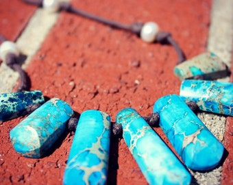 Turquoise and Pearl Pocahontas Necklace BOHO