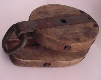 Early Wood Ship's Deck Snatch Block Nautical Rope Rigging Block Hand Forged Iron Link