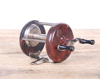 Antique Fishing Reel / Chief Bakelite Fishing Reel / Fishing Decor / Fishing Gift / Silver Reel / Old Fishing Reel / Casting Reel