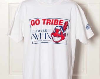 90s GO TRIBE Cleveland Indians WFIN Radio Tshirt - xl
