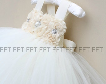 Champagne Ivory Flower Girl Tutu Dress