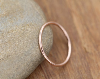 14 kt Rose Gold Band - 1.2 mm, Glossy Finish - Skinny Gold Ring - Skinny Stacking Ring - Rose Gold Ring