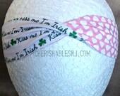 Kiss Me I'm Irish Headband - Valentine's Day Reversible Headband - Elastic Band - Holiday - Teacher Gift - Hearts - OOAK - Ready to Ship