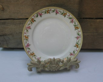 "Nippon Bread and Butter Plate, Vintage 6"" Dessert Plate, White with Floral Trim, Small Floral Plate, Cottage Chic Plate MyVintageTable"