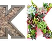 12 inch DIY Unfinished Letter Planter Monogrammed Initials Succulent Planter Succulent Letter Box