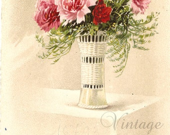 Pink Carnations in White Wicker Vase Antique French Postcard Chromolithograph Chromo Floral Post Card from Vintage Paper Attic