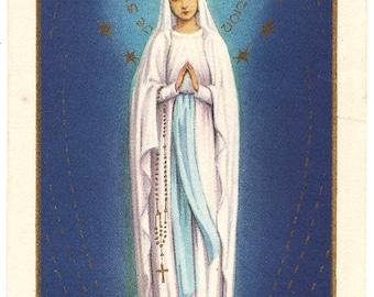 Our Lady of Lourdes with Gold Crown & Stars Vtg French Holy Prayer Card, Goldprint, Virgin Mary, Catholic Ephemera