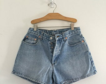 Vintage Button Fly Denim Shorts / Light Wash Jean Shorts M 28
