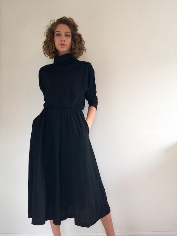 Vintage 80 S Black Turtleneck Dress Wool Full Skirt Midi