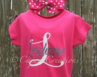 Monogram Girls shirt, personalized shirt, monogram shirt, monogram bow, girls shirt, custom kids shirts, monogram gifts for girls.