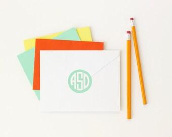 Personalized Monogram Labels Custom Kids Name Stickers Circle Monogram Envelope Seal Personalized School Supplies Stickers Folder Labels