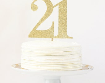 21st Birthday Cake Topper Gold Party Decorations Number Age Cake Topper Gold Glitter Party Supplies 30th Birthday 40th 50th 60th Cake Topper