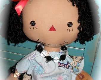 Use Coupon 20% Off Primitive Black Hair Raggedy Doll in Betty Boop Dress OOAK