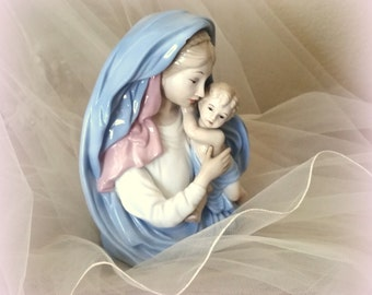 LEFTON Holy Mother and Child - Madonna & Child - Mary and Baby Jesus - Hand-Painted - Beautiful Religious  Art
