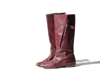 Vintage Burgundy Leather Tall Boots / size 7