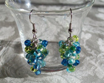 Large Multicolored Cluster Earrings (ONE Pair- 3 color schemes to choose from)