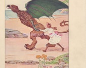Gryphon Runs W/ Alice In Wonderland-1908 Old Antique Vintage Color PRINT-Picture-Ephemera-Book Plate-Griffin-Children's Wall Art-Jabberwocky