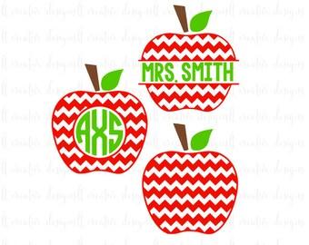 Chevron Apple SVG, Teacher SVG, Teacher Apple SVG, Apple Monogram Svg, Svg Files, Silhouette, Cricut
