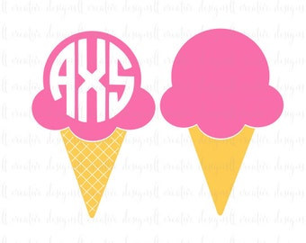 Ice Cream SVG, Ice Cream Monogram SVG, Summer SVG, Cricut Cutting Files, Silhouette Cutting Files