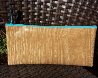 Zippered Oil Cloth Pouch--Faux Bois Wood Grain--Purse Organizer--pencil pouch teacher gift