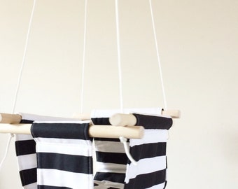Black and White Stripes Fabric Baby and Toddler Swing - Fabric and Wood Interior Swing