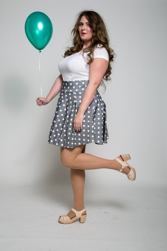 Plus size flare mini full skirt - heart print retro mini skirt  -plus size polka dots short skirt - fit size US6 - US20
