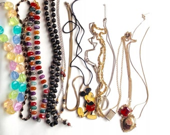 Vintage Necklace Lot - Beads - Mickey Mouse - Snake Chain - Rhinestones - Thirteen Necklaces - Accessories - Jewelry - Craft Supplies