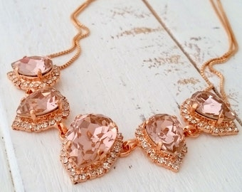 Blush necklace,rose gold morganite bridal necklace,Swarovski necklace,Statement necklace,Bib necklace,Bridesmaid gift,Wedding jewelry