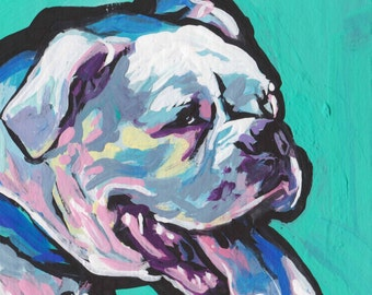 "White BOXER Dog bright colorful portrait art print of pop art painting 12x12"""