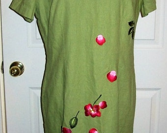 Vintage Ladies Green Sheath Dress w/ Embroidered Applique by Positive Influence Size 12 Only 7 USD