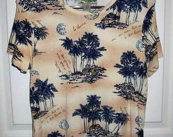 SAlE 70% Off Vintage Ladies Tropical Print Tee Shirt by Havana Jacks Cafe Large Now 1.50 USD