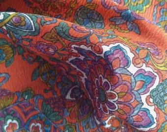 Vintage Japanese silk and wool crepe kimono fabric 92 cm x 36 cm orange sarassa