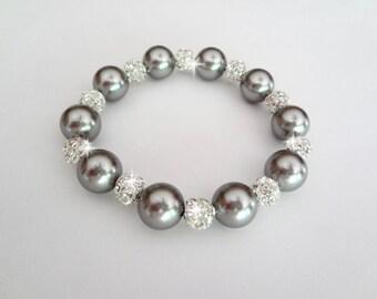 Gray pearl bracelet ~ Swarovski pearls and fireballs,Crystal rhinestone statement bracelet,Wedding bracelet,Bridal Jewelry, Bridesmaids,Gift