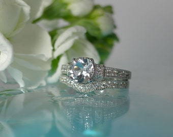 White Topaz Wedding Set, White Topaz Engagement Ring, Sterling Silver Wedding Set, Natural White Topaz
