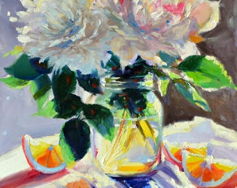 Still life painting,SUNLIT ORANGES, purple and yellow, impressionistic art